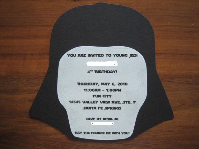 Darth Vader Invitations Lil Sprinkles
